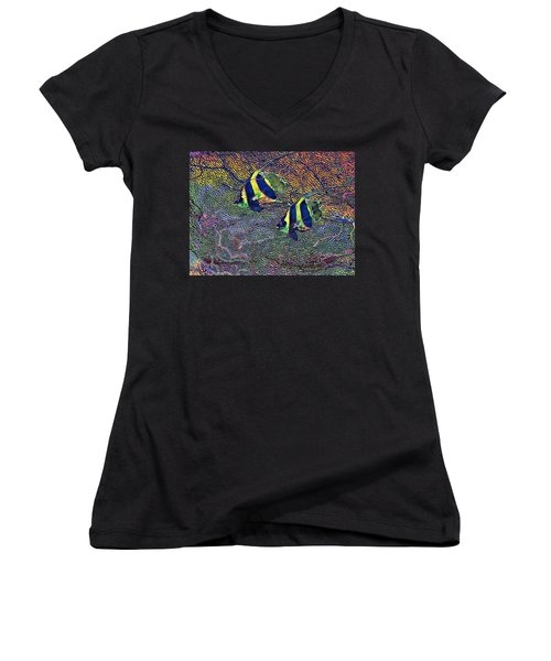 Coral Reef Tropical Fish Colorful Water Art Women's V-Neck T-Shirt (Junior Cut) by David Mckinney