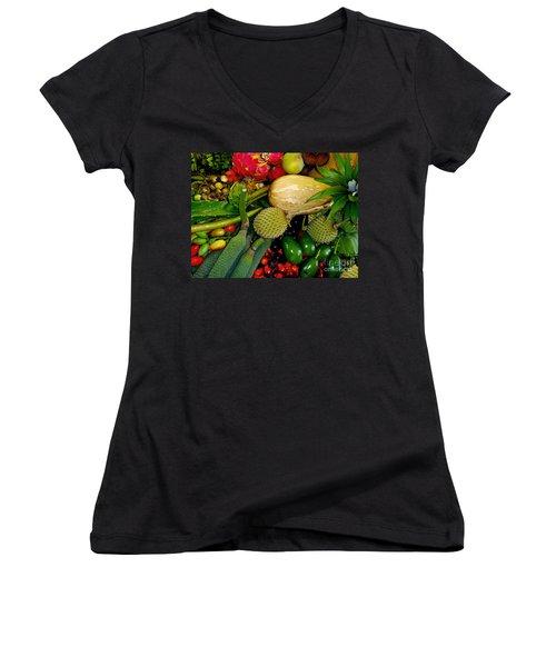 Tropical Fruits Women's V-Neck T-Shirt (Junior Cut) by Carey Chen
