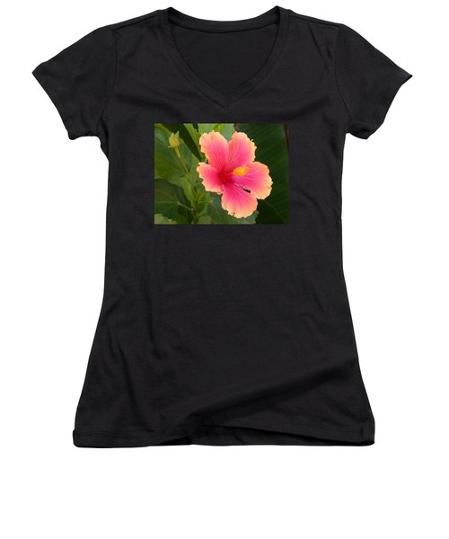 Tropical Hibiscus Women's V-Neck (Athletic Fit)