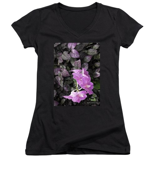 Tropical Orchids Women's V-Neck (Athletic Fit)