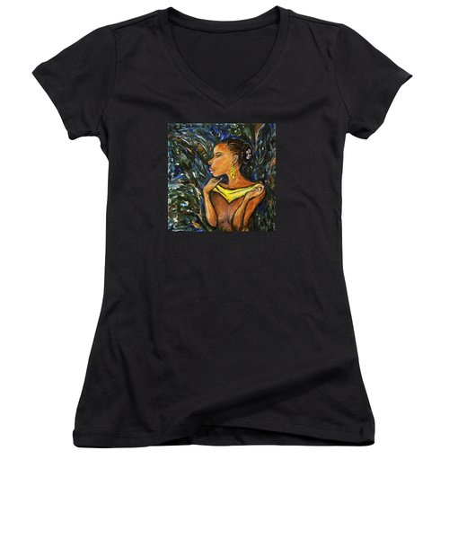 Women's V-Neck T-Shirt (Junior Cut) featuring the painting Tropical Shower by Xueling Zou