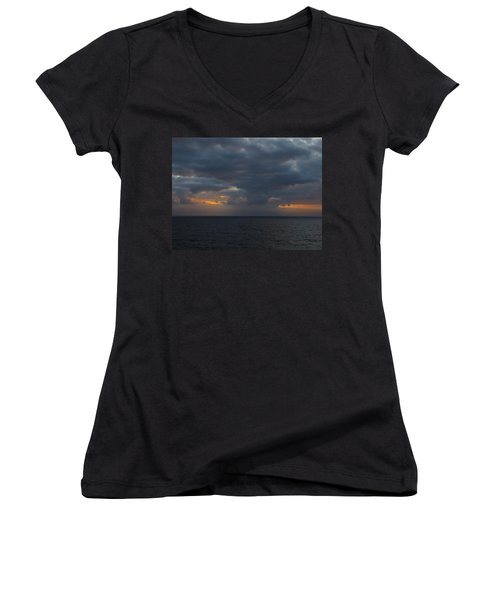Women's V-Neck T-Shirt (Junior Cut) featuring the photograph Troubled Skies by Jennifer Wheatley Wolf