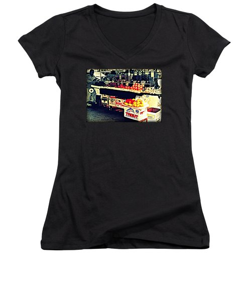 Women's V-Neck T-Shirt (Junior Cut) featuring the photograph Vintage Outdoor Fruit And Vegetable Stand - Markets Of New York City by Miriam Danar