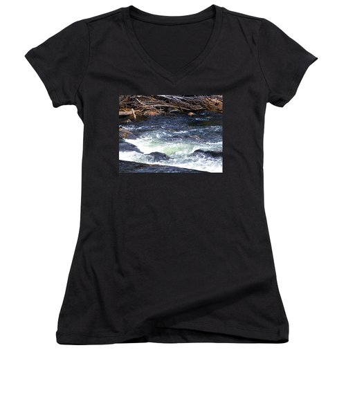 Women's V-Neck T-Shirt (Junior Cut) featuring the photograph Trout River by Jackie Carpenter