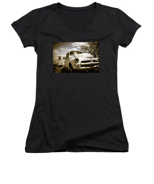 Women's V-Neck T-Shirt (Junior Cut) featuring the photograph Truck And Trailer by Steven Bateson