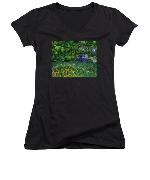 Truck In The Forest Women's V-Neck T-Shirt (Junior Cut) by Paul Freidlund