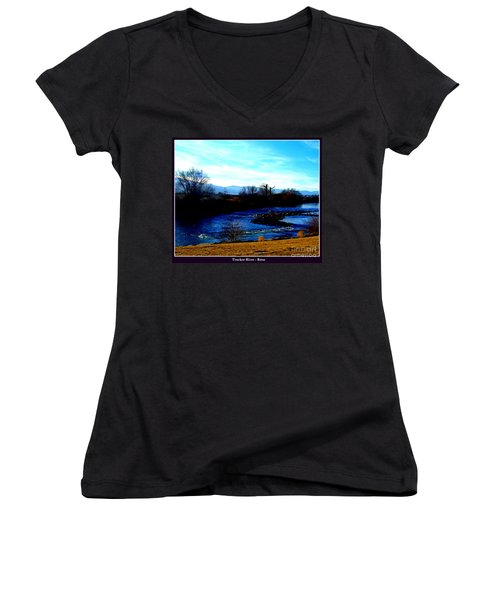 Women's V-Neck T-Shirt (Junior Cut) featuring the photograph Truckee River In Motion by Bobbee Rickard