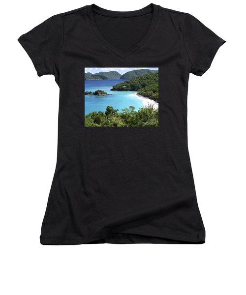 Women's V-Neck T-Shirt (Junior Cut) featuring the photograph Trunk Bay II by Carol  Bradley