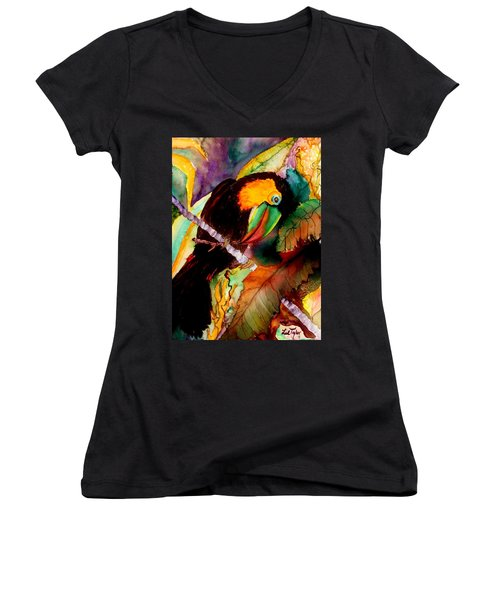 Tu Can Toucan Women's V-Neck T-Shirt (Junior Cut) by Lil Taylor