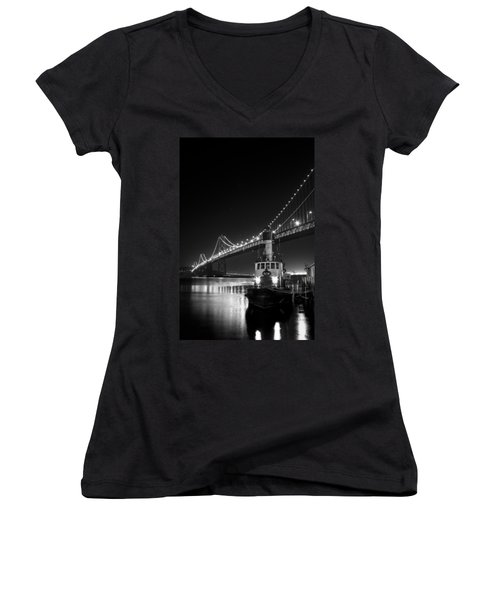 Tugboat Under The Bay Bridge Women's V-Neck