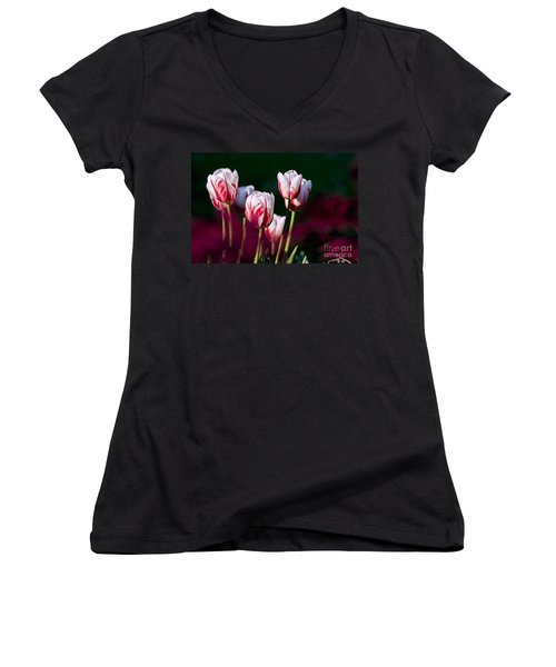 Women's V-Neck T-Shirt (Junior Cut) featuring the photograph Tulips Garden Flowers Color Spring Nature by Paul Fearn