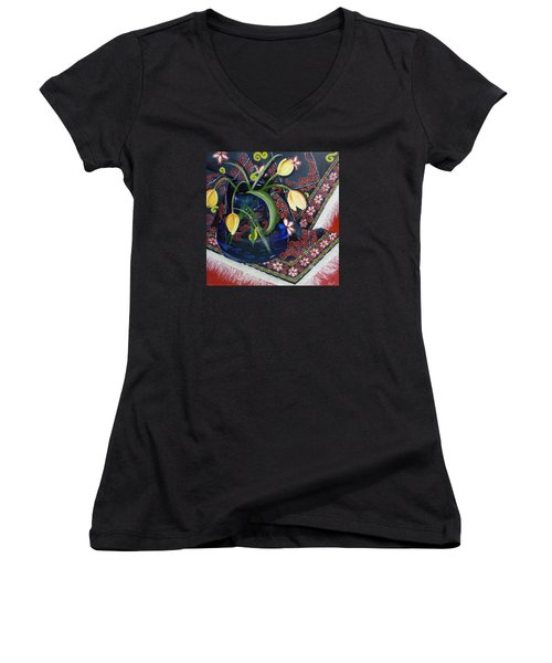 Tulips Women's V-Neck T-Shirt (Junior Cut) by Helen Syron