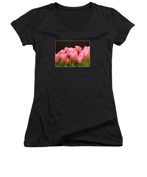 Women's V-Neck T-Shirt (Junior Cut) featuring the photograph Tulips In Bloom by Lingfai Leung