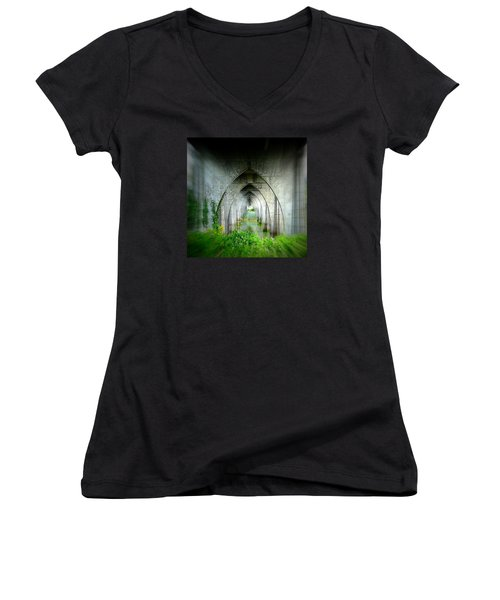 Women's V-Neck T-Shirt (Junior Cut) featuring the photograph Tunnel Effect by Nick Kloepping