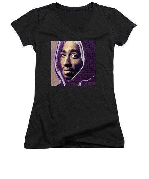 Tupac Shakur And Lyrics Women's V-Neck T-Shirt (Junior Cut) by Tony Rubino