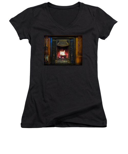 Turf Fire In Irish Cottage Women's V-Neck