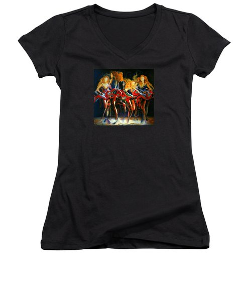 Women's V-Neck T-Shirt (Junior Cut) featuring the painting Turning by Georg Douglas