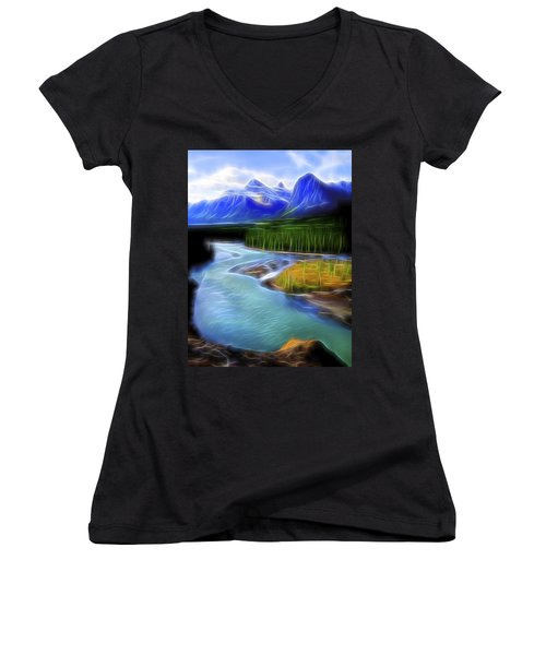 Women's V-Neck T-Shirt (Junior Cut) featuring the digital art Turquoise Light 1 by William Horden