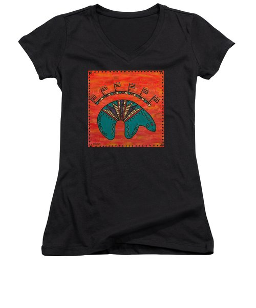 Turquoise Oso Bear Fetish Women's V-Neck T-Shirt (Junior Cut) by Susie WEBER