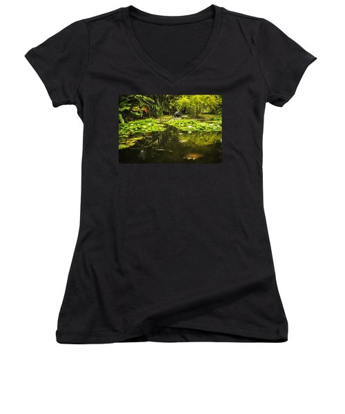 Turtle In A Lily Pond Women's V-Neck T-Shirt (Junior Cut) by Belinda Greb