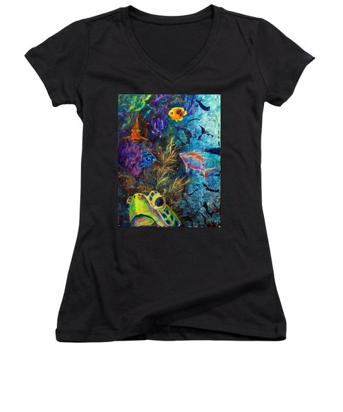 Turtle Wall 3 Women's V-Neck T-Shirt (Junior Cut) by Ashley Kujan
