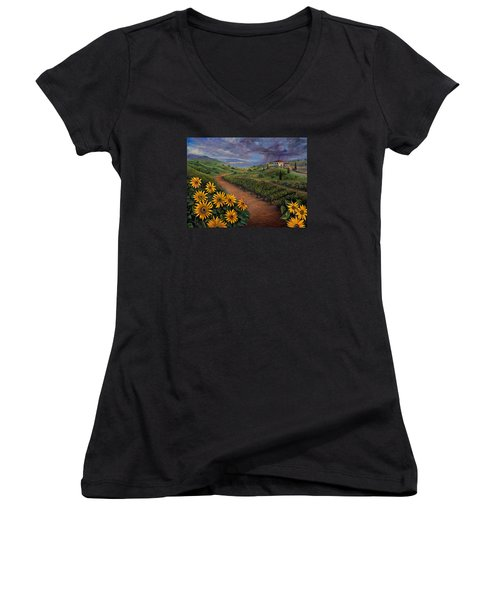 Tuscan Landscape Women's V-Neck T-Shirt (Junior Cut) by Claudia Goodell