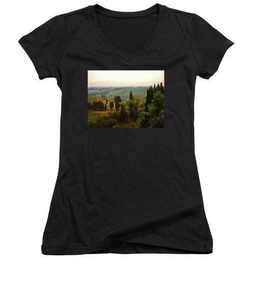 Tuscan Landscape Women's V-Neck (Athletic Fit)
