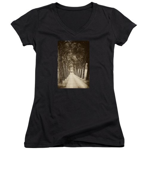 Women's V-Neck T-Shirt (Junior Cut) featuring the photograph Tuscan Pines by Hugh Smith
