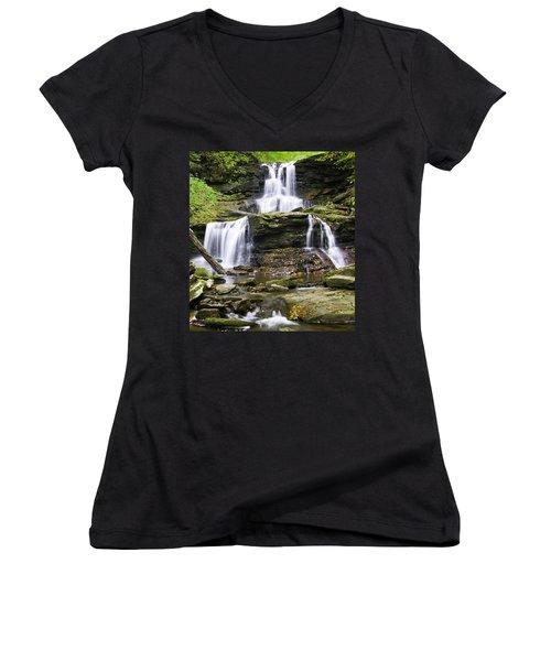Tuscarora Falls Women's V-Neck T-Shirt (Junior Cut)