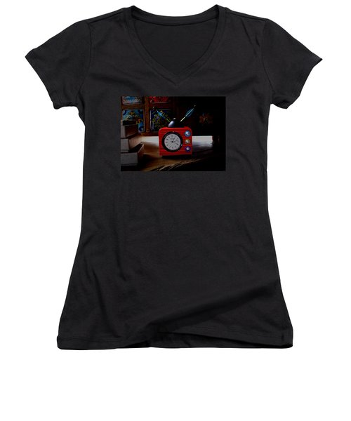 Tv Clock Women's V-Neck T-Shirt (Junior Cut) by David Pantuso