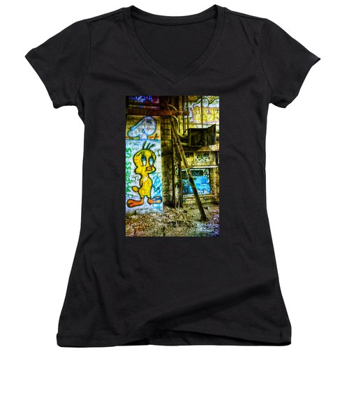 Women's V-Neck T-Shirt (Junior Cut) featuring the photograph Tweety by Debra Fedchin