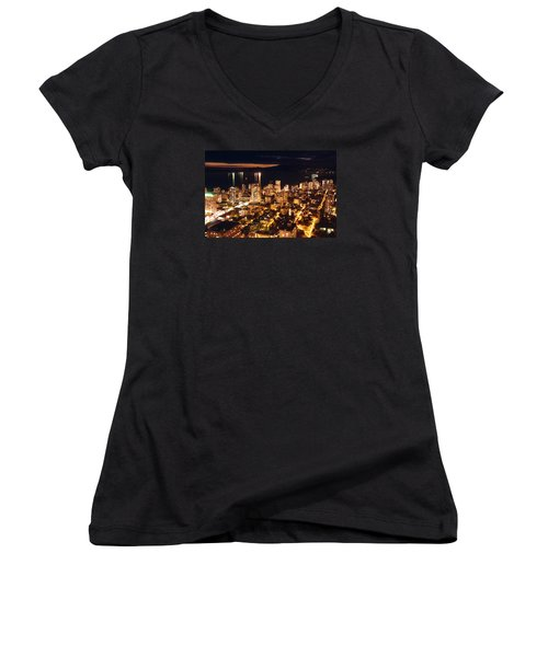 Women's V-Neck T-Shirt (Junior Cut) featuring the photograph Twilight English Bay Vancouver Mdlxvii by Amyn Nasser