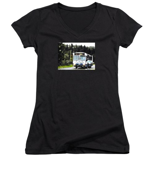 Women's V-Neck T-Shirt (Junior Cut) featuring the photograph Twilight In Forks Wa 1 by Sadie Reneau