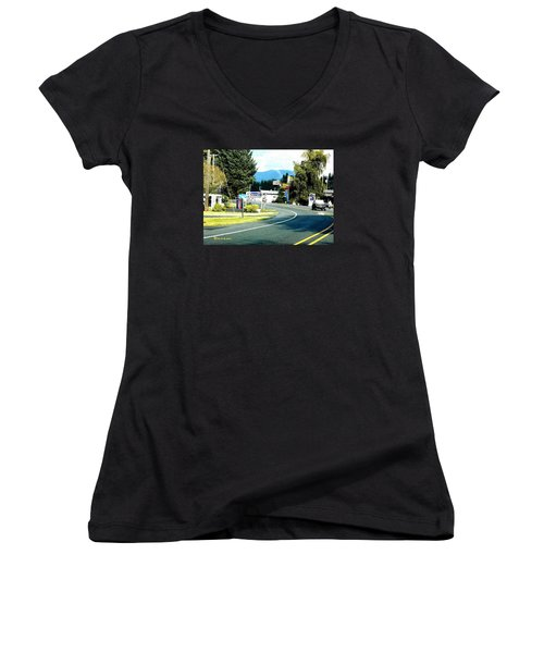 Women's V-Neck T-Shirt (Junior Cut) featuring the photograph Twilight In Forks Wa 2 by Sadie Reneau