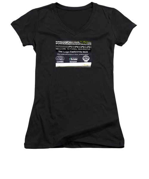 Women's V-Neck T-Shirt (Junior Cut) featuring the photograph Twilight In Forks Wa 5 by Sadie Reneau