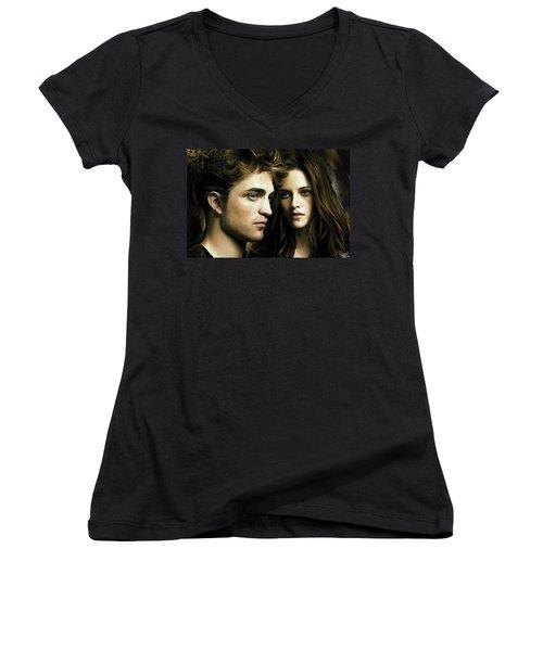 Women's V-Neck T-Shirt (Junior Cut) featuring the painting Twilight  Kristen Stewart And Robert Pattinson Artwork 4 by Sheraz A