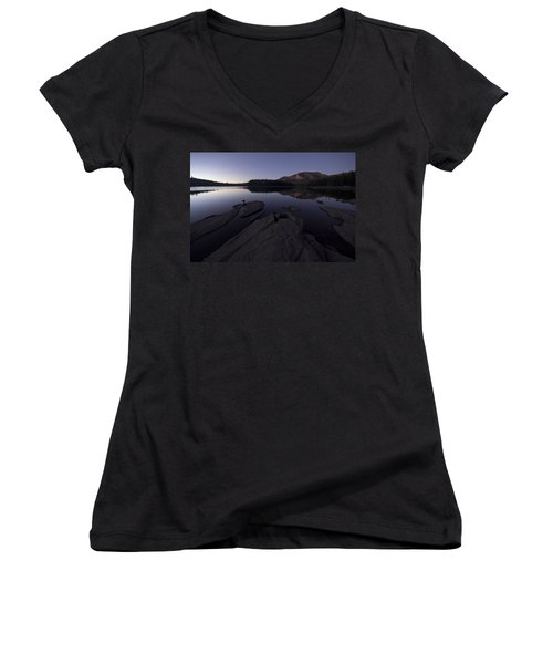 Twilight On Silver Lake Women's V-Neck (Athletic Fit)
