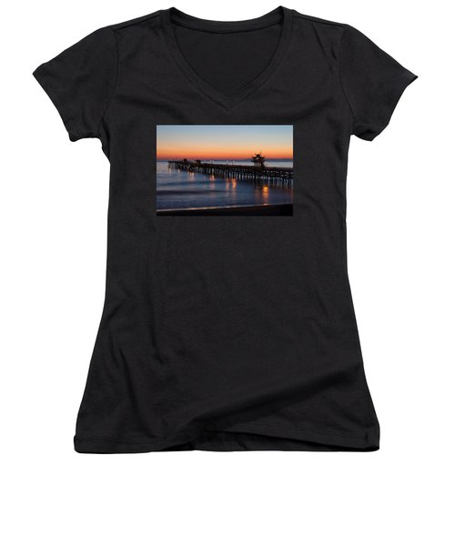 Twilight San Clemente Pier Women's V-Neck