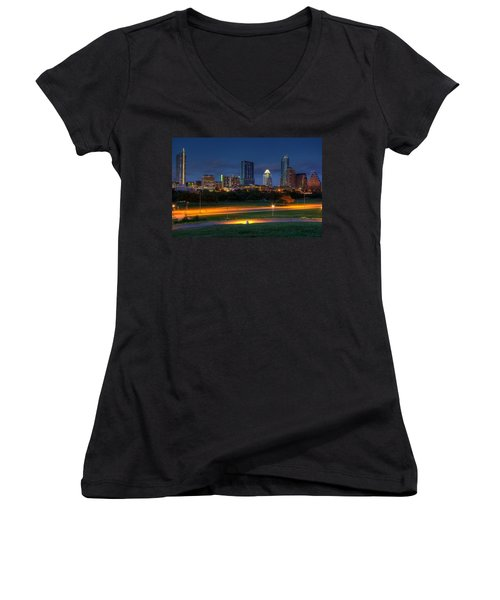 Twilight Skyline Women's V-Neck T-Shirt (Junior Cut) by Dave Files