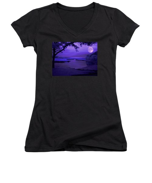 Twilight Zone Women's V-Neck T-Shirt (Junior Cut) by Robert McCubbin