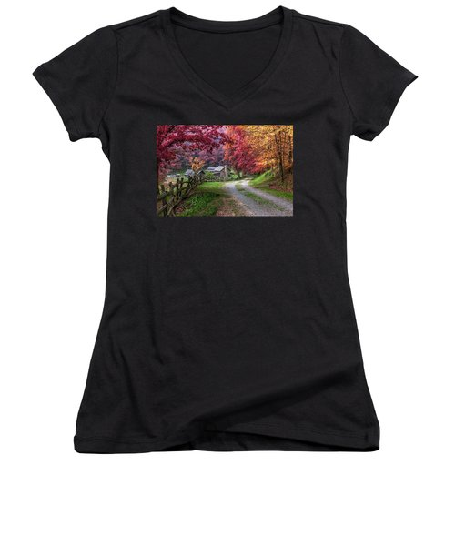 Twin Falls State Park Women's V-Neck T-Shirt (Junior Cut) by Mary Almond