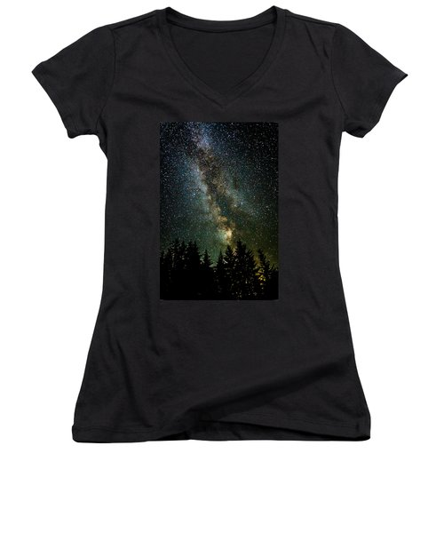 Twinkle Twinkle A Million Stars  Women's V-Neck T-Shirt (Junior Cut) by Wes and Dotty Weber