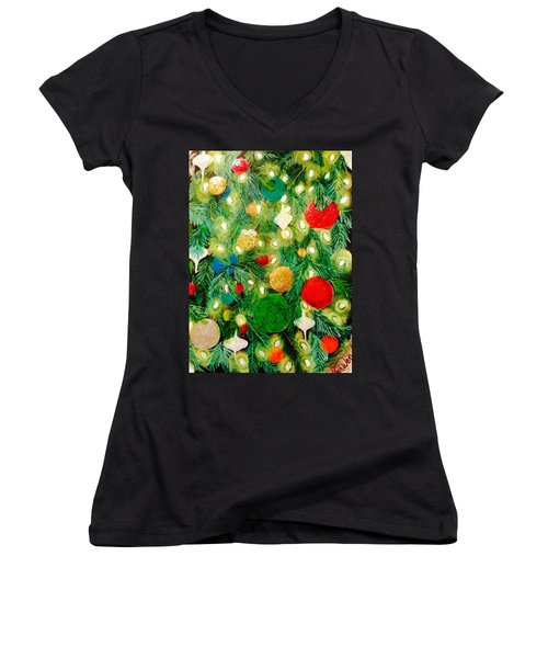 Twinkling Christmas Tree Women's V-Neck (Athletic Fit)