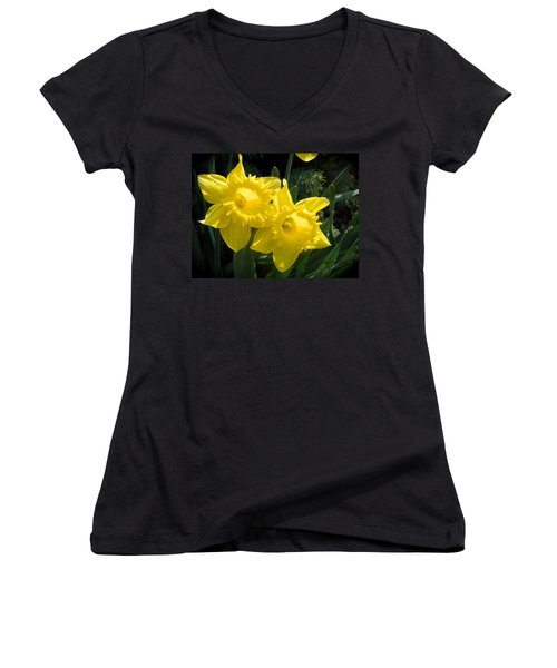 Women's V-Neck T-Shirt (Junior Cut) featuring the photograph Two Daffodils by Kathy Barney