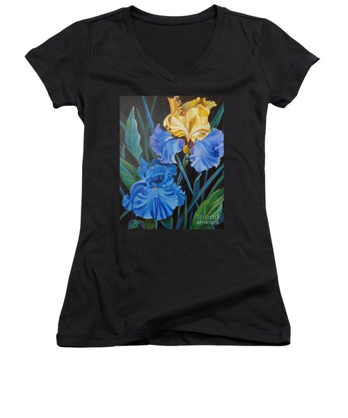 Women's V-Neck T-Shirt (Junior Cut) featuring the painting Two Fancy Iris by Jenny Lee