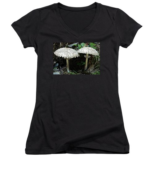Two Magnificent Toadstools Women's V-Neck T-Shirt (Junior Cut) by Chalet Roome-Rigdon