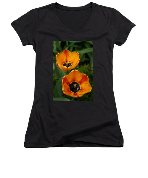 Two Tulips Women's V-Neck T-Shirt (Junior Cut) by Denyse Duhaime