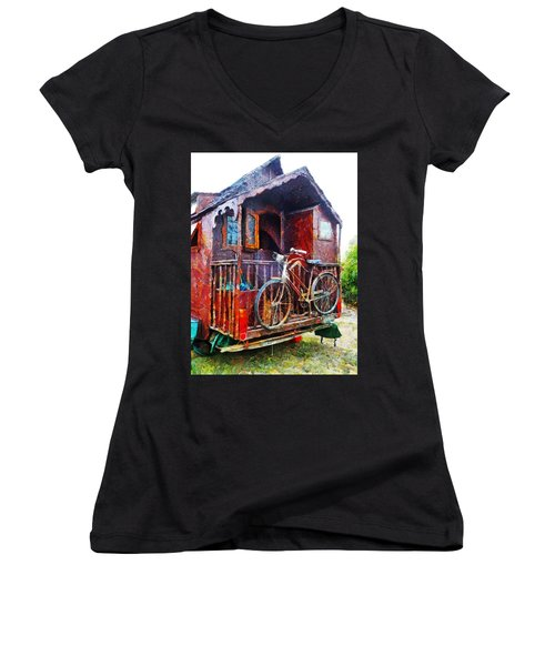 Two Wheels On My Wagon Women's V-Neck T-Shirt