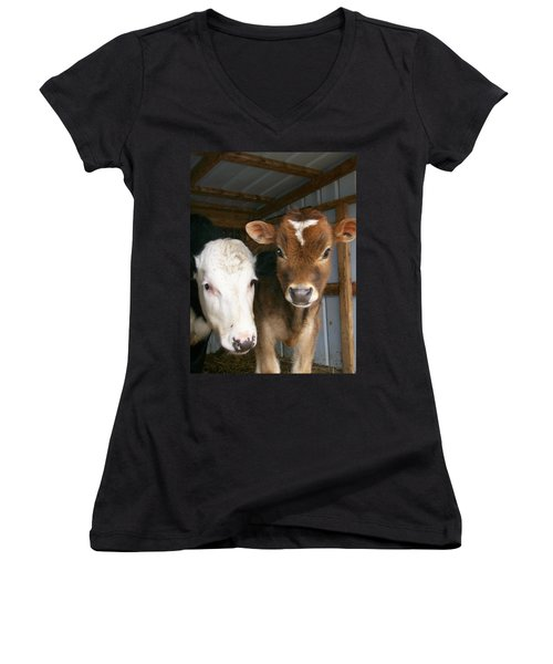 Women's V-Neck T-Shirt (Junior Cut) featuring the photograph Two's Company by Sara  Raber