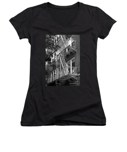 Typical Building Of Brooklyn Heights - Brooklyn - New York City Women's V-Neck (Athletic Fit)